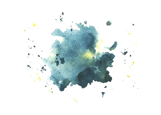 Navy watercolor stain paint stroke background Premium Photo