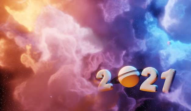 Nebula and galaxies in space. abstract cosmos 2021 concept background Premium Photo