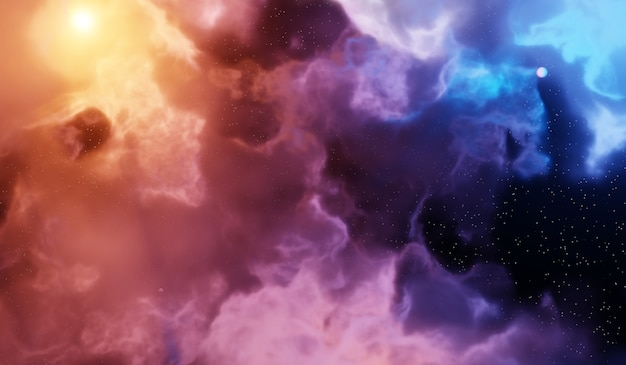 Nebula and galaxies in space. abstract cosmos background Premium Photo