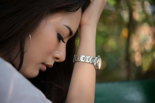 Negative female sad tired pain Free Photo