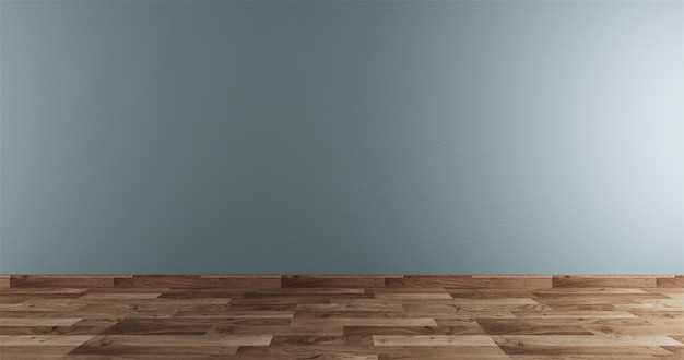 Neo mint empty room white on wooden floor interior Premium Photo