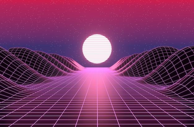 neon 80s styled vintage retro game landscape 3d rendering 50883 118
