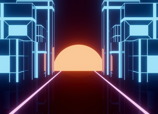 Neon 80s styled , vintage  retro game landscape with shiny road and building Premium Photo