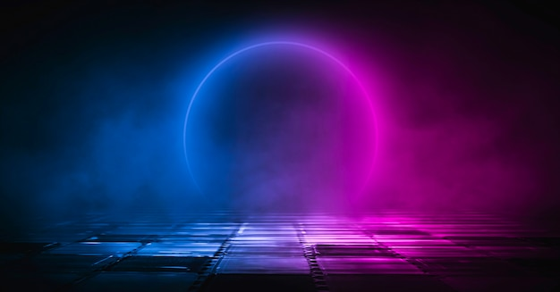 Neon circle. dark street background, reflection of blue and red neon on the asphalt. Premium Photo