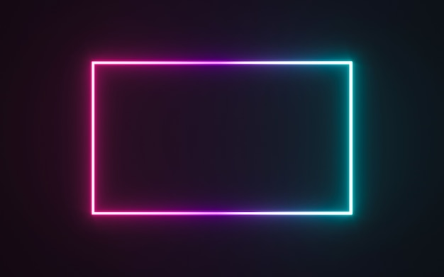 Neon frame sign in the shape of a rectangle Premium Photo