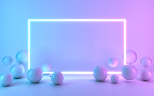 Neon frame sign with balloon. 3d rendering Premium Photo