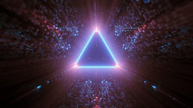 검정색 배경의 삼각형 모양의 네온 레이저 조명 무료 사진