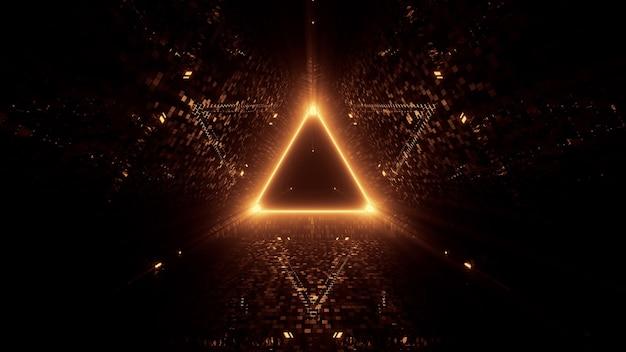 Неоновые лазерные фонари треугольной формы на черном фоне Бесплатные Фотографии
