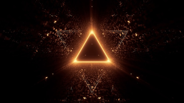 Neon laser lights in a triangular shape with a black background Free Photo