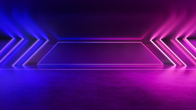 Неоновый свет, абстрактный футуристический фон, ультрафиолетовая концепция, 3d визуализация Premium Фотографии