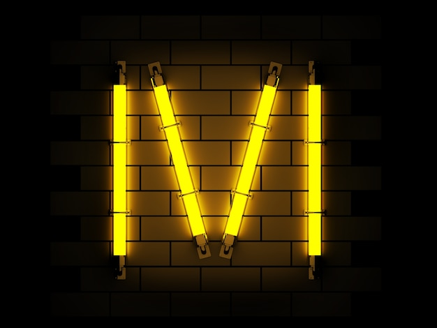 Neon light alphabet 3d rendering on brick background with clipping path Premium Photo