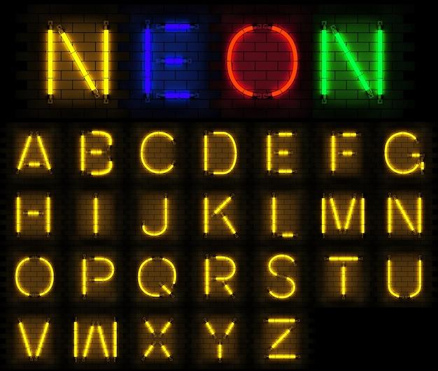 Neon light alphabet 3d rendering on brick background Premium Photo