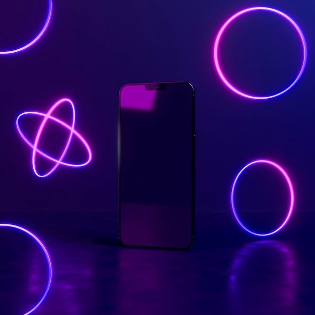 電話でネオンライトの幾何学的形状 無料写真