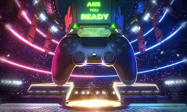Neon light glow e-sport arena with the big joy pad in middle stadium Premium Photo