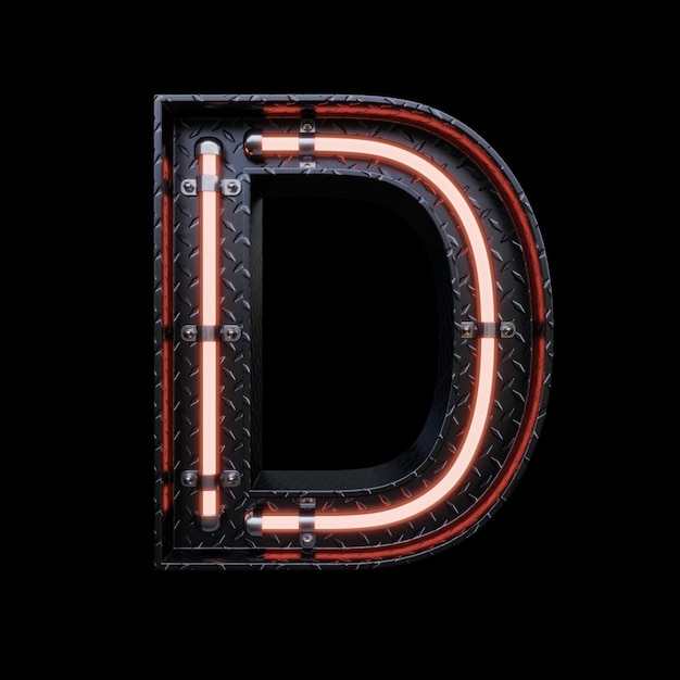 Neon light letter d with red neon lights. Premium Photo