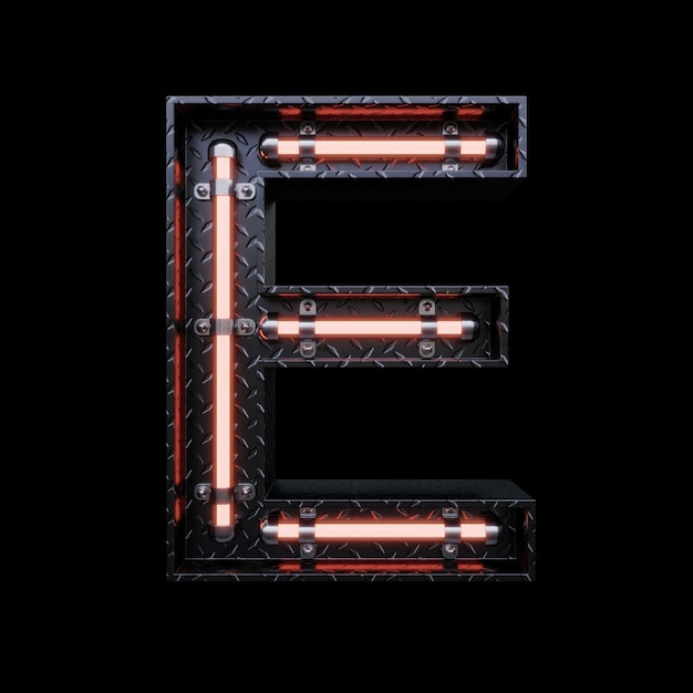 Neon light letter e with red neon lights. Premium Photo
