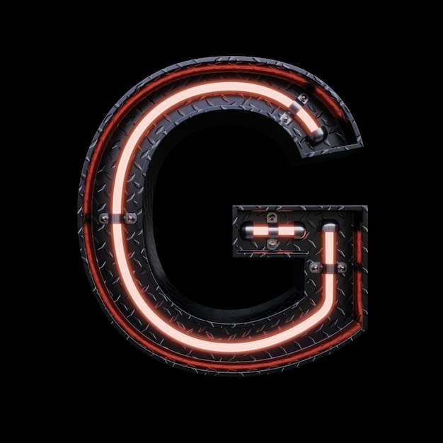 Neon light letter g with red neon lights. Premium Photo