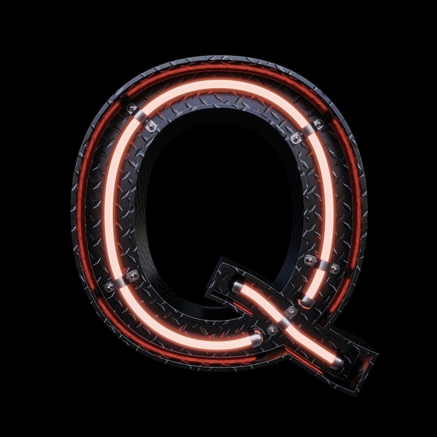 Neon light letter q with red neon lights. Premium Photo