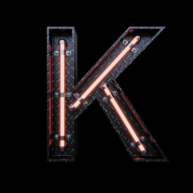 Neon light letter a with red neon lights. Premium Photo