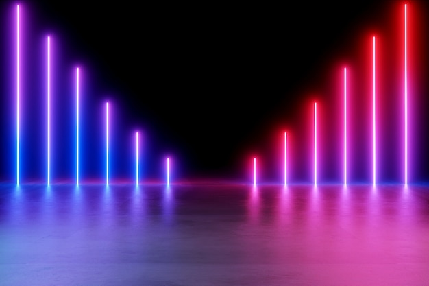 Neon lights background. Premium Photo