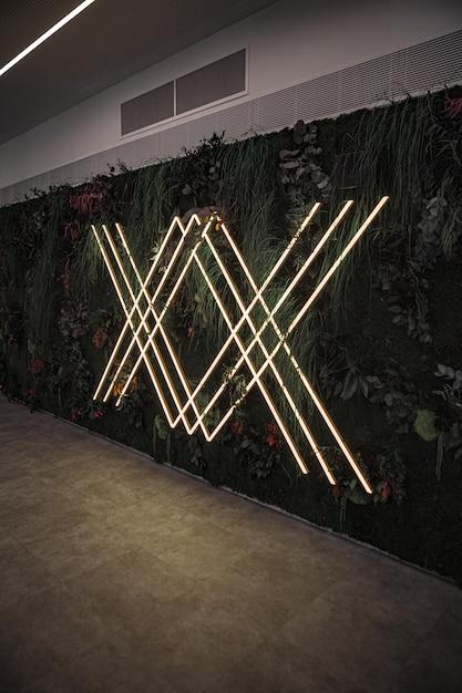 Luci al neon sulla parete con piante e fiori Foto Gratuite
