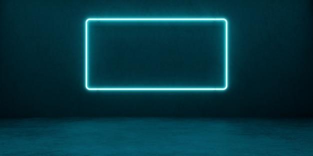 コンクリートの壁を背景にした青色のネオン長方形の光るフレーム。空白のバナー。 3dイラスト。 Premium写真