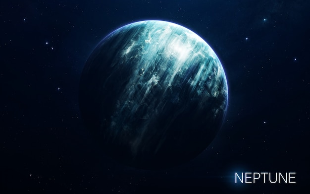 Neptune - planets of the solar system in high quality. science wallpaper. Premium Photo