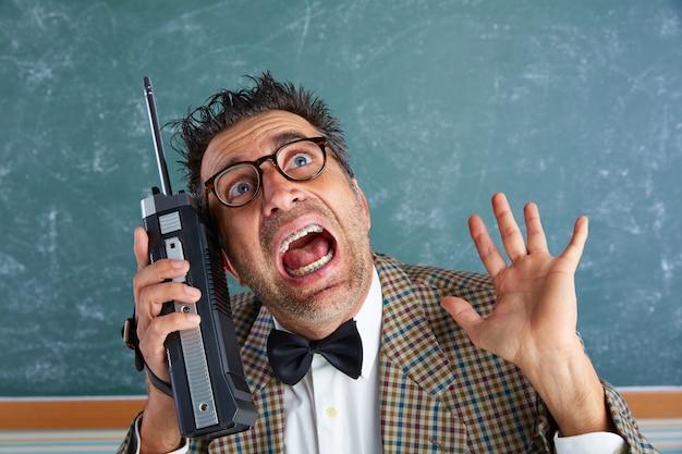 8ed11d1d37e0 Nerd silly private investigator retro walkie talkie Photo | Premium ...