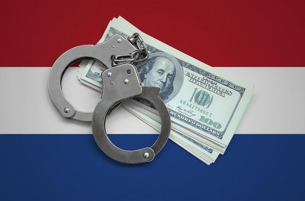 手錠とドルの束を持つオランダの旗。国の通貨の腐敗。金融犯罪 Premium写真