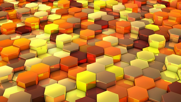 A network of hexagons yellow hue background Premium Photo
