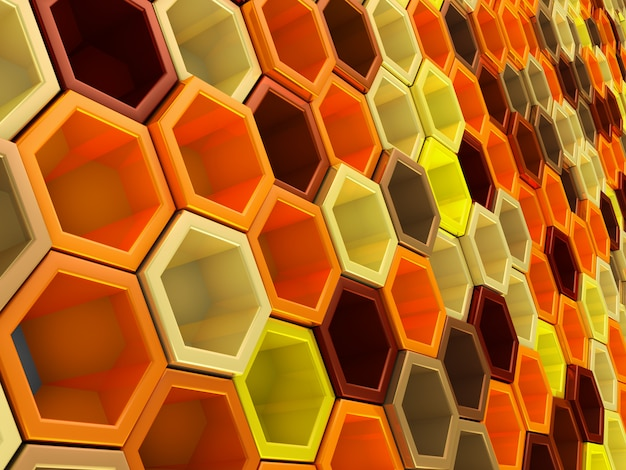 A network of hexagons yellow hue, which change height  background Premium Photo