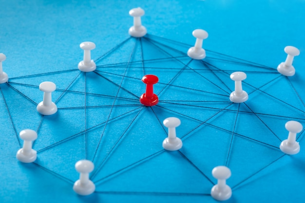 Network with pins Premium Photo