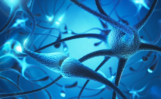 Neuron cell with electrical pulses concept 3d illustration. Premium Photo