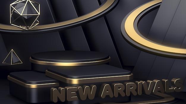 Новые поступления. витрина для показа трех товаров. абстрактный фон черный подиум. Premium Фотографии