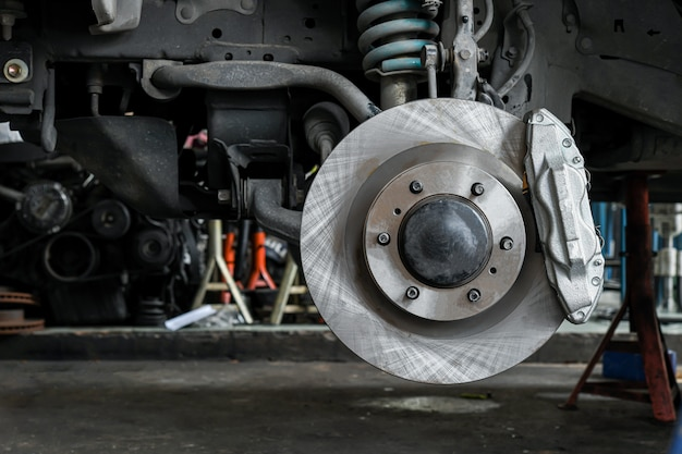 New car brake system replacement Premium Photo