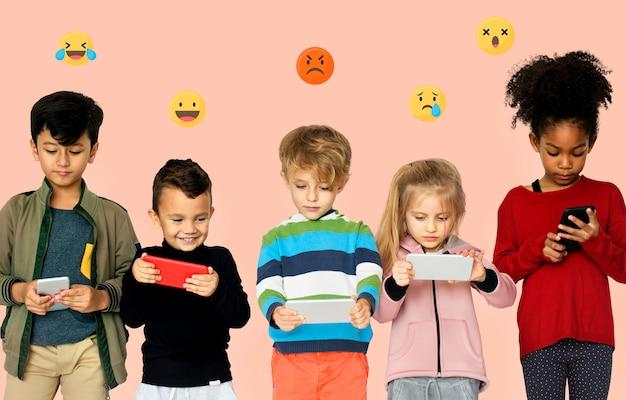 New generation of smartphone users Premium Photo