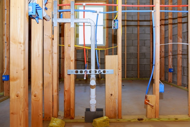 New home construction pipes and electrical Premium Photo