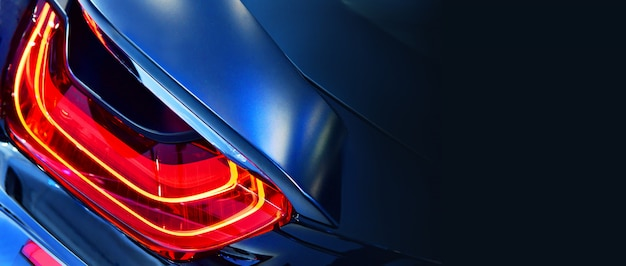 New led taillight in hybrid sports car Premium Photo