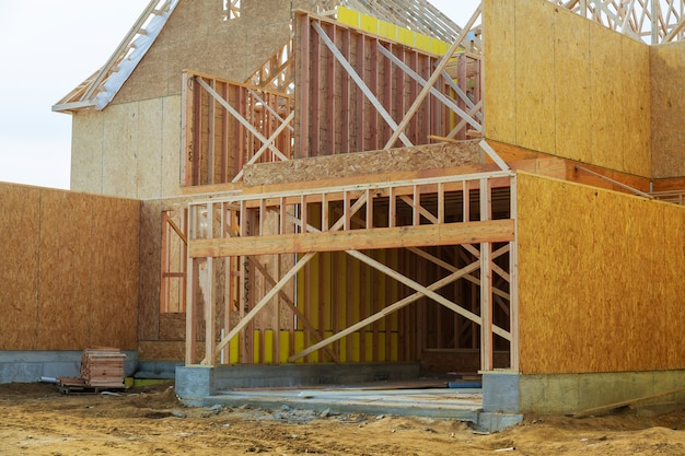 New residential construction home framing Premium Photo