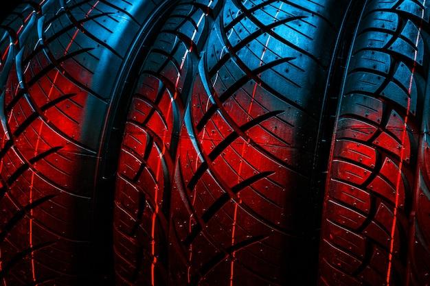 New tires. car tires close up Premium Photo