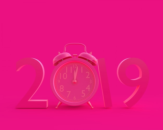 New year 2019 concept and clock pink color. Premium Photo