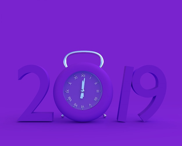 New year 2019 concept and clock purple color. Premium Photo