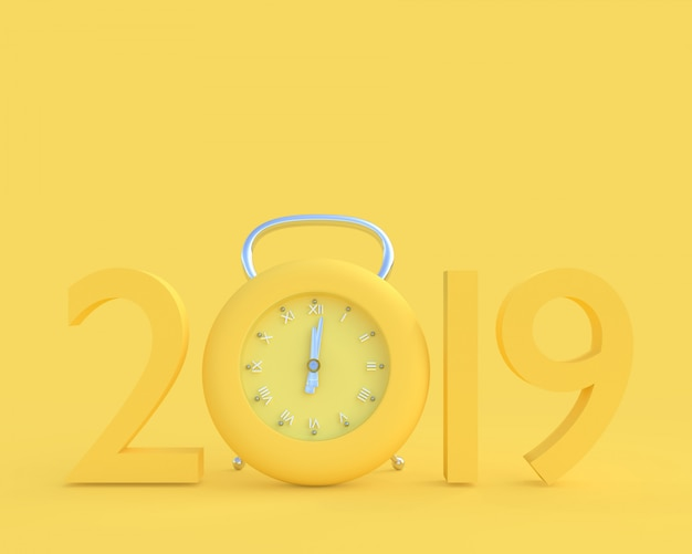 New year 2019 concept and clock yellow color. Premium Photo