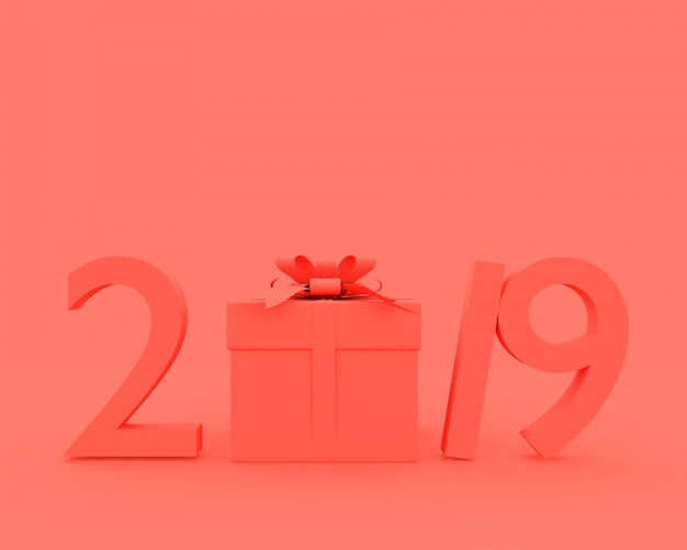 New year 2019 concept pink color Premium Photo