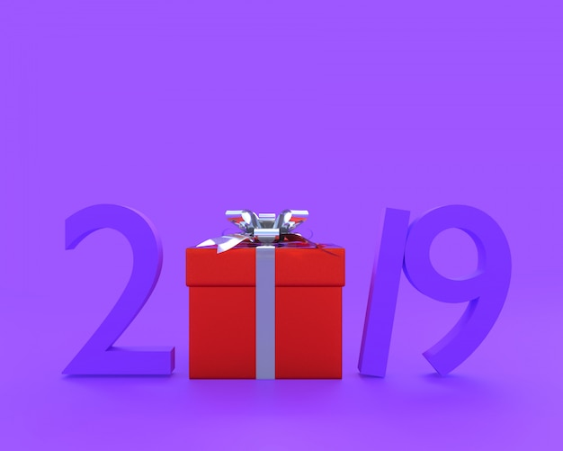 New year 2019 concept purple color and red gjift box Premium Photo