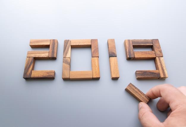 New year 2019 wood number. Premium Photo