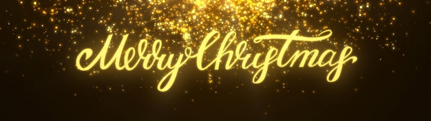 New year 2020. bokeh background. lights abstract. merry christmas backdrop. gold glitter light. defocused particles. xmas lettering. golden color. panoramic view Premium Photo