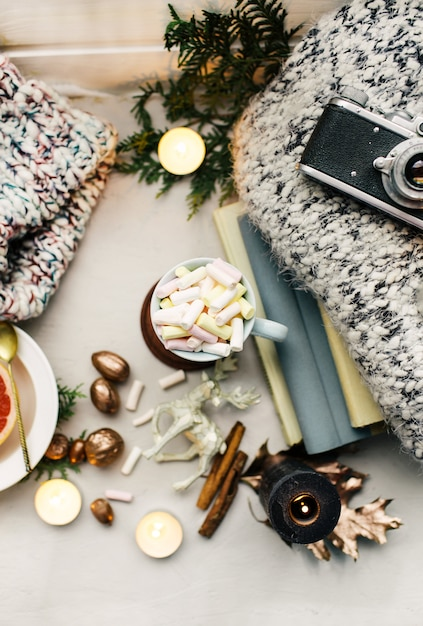 New year atmosphere and candle christmas toys with cup of coffee Premium Photo