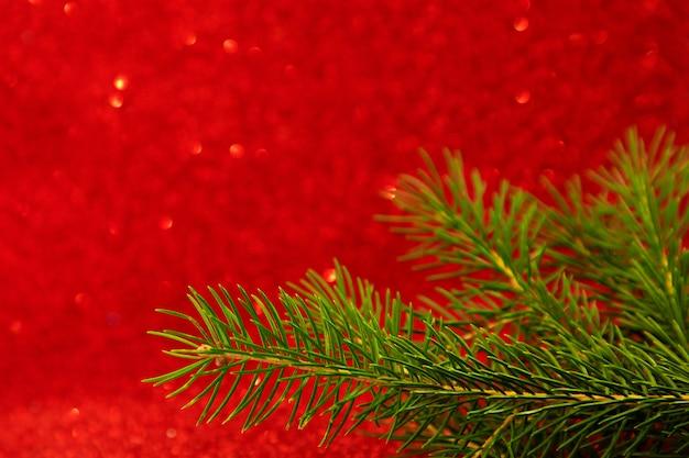 크리스마스 트리의 Bokeh 분기와 빨간색 배경에 새 해 카드 프리미엄 사진