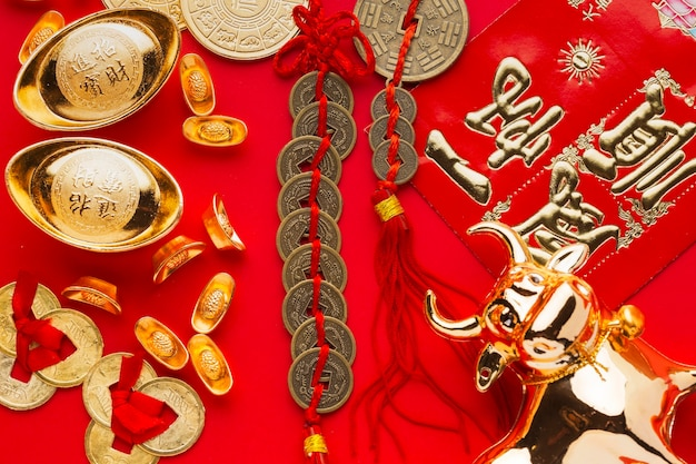 New year chinese 2021 golden ox and lucky money Free Photo